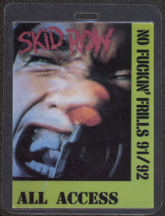 #MUSIC415  - Skid Row 1991 No Fu****&#39; Frills Tour Laminated Backstage Pass