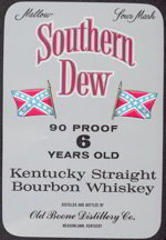 #ZLW092 - Southern Dew Bourbon Whiskey Label with Confederate Flag - Large Version
