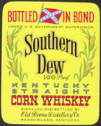 #ZLW092 - Southern Dew Corn Whiskey Label with Confederate Flag - Large Version
