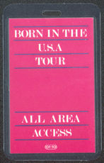 #MUSIC273  - 1984 Bruce Springsteen Laminated Backstage Pass from the Born in the USA Tour