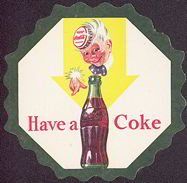 #CC187 - Coca Cola Coaster with Sprite Boy Pointing at a Bottle
