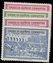 #ZZZ017 - Group of 4 Different 1940 St Moritz Olympic Stamps