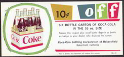 #CC193 - Type 3 - Coca Cola 10 Cents off Coupon 8 bottle carton of regular size Coke
