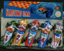 #TY231 - Set of Five Indy Style Made in Japan Tin Litho Race Cars in Header Bag