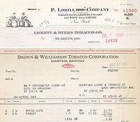 #ZZZ016 - Group of 8 Different Tobacco Company Invoices from the 1940s