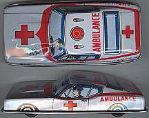 #TY101 - Tin Toy Friction Ford Mustang Ambulance