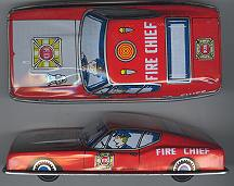 #TY102 - Tin Toy Friction Ford Mustang Fire Chief Car