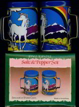 #MS062 - Novelty Unicorn and Rainbow Salt and Pepper Shakers in Box