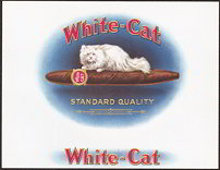 #ZLT030 - White-Cat Cigar Box Label