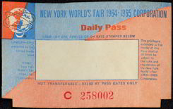 #MS105 - Unused 1964-65 New York World&#39;s Fair Ticket