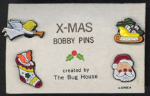 #HH128 - Carded Group of 4 enameled Christmas Bobby Pins - Bug House