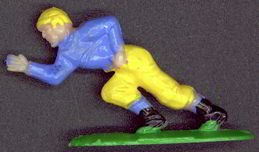 #BA065 - Hand Painted C.M.V. Blue and Yellow Hard Plastic Football Player Figure