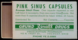 #CS350 - Pink Sinus Capsule Box from the Rexall Drugstore in Fremont, Ohio