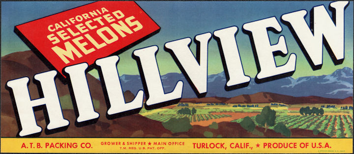 ZLSH602 - Group of 100 Hillview Melons Crate Labels