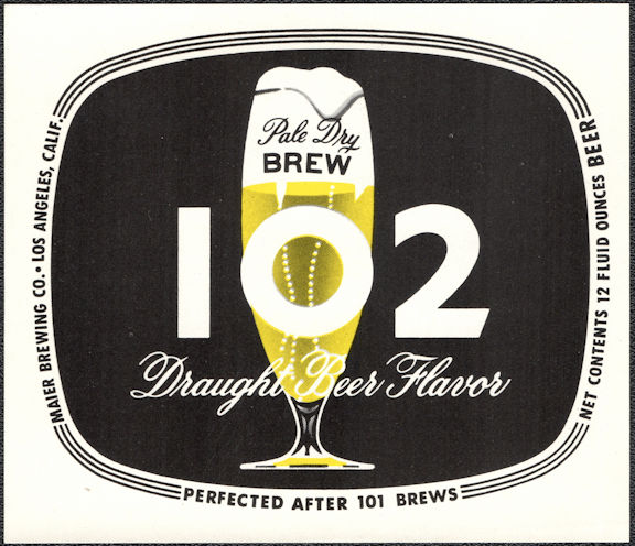 #ZLBE127 - Group of 12 Pale Dry Brew 102 Beer Bottle Labels - Los Angeles, CA