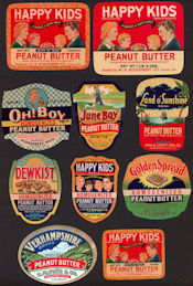 #ZBOT422 - Group of 10 Different Fancy Peanut Butter Jar Labels