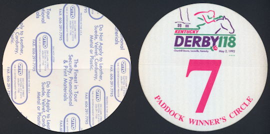 #BA717 - May 2, 1992 Kentucky Derby Paddock Winner's Circle OTTO Pass - As low as $2.00 Each