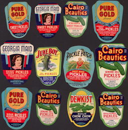 #ZBOT421 - Group of 12 Different Fancy Pickle Jar Labels