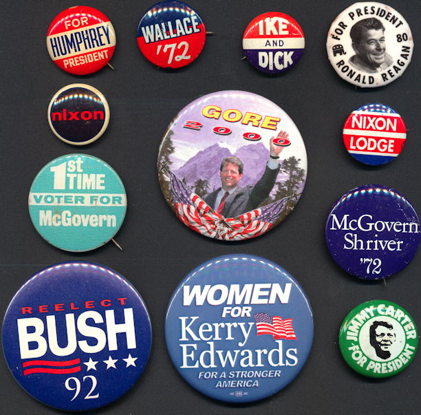 #PL343.1 - Group of 12 Different Presidential Election Pinbacks