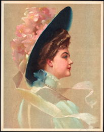#MS160 - 1910 Victorian Print - Lady in Blue Hat with Pink Flowers