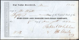 #ZZCE092 - 1842 Receipt for Shares of Stock in The New York Harlem Railroad Company
