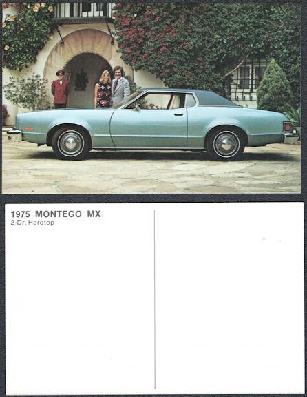 #CA520 - Group of 4 1975 Mercury Montego MX Dealer Postcards