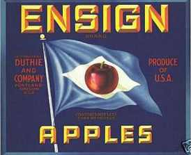 #ZLC015 - Ensign Apples Crate Label - Blue