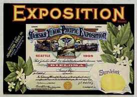 #ZLC019 - Sunkist Alaska Exposition Lemon Crate Label