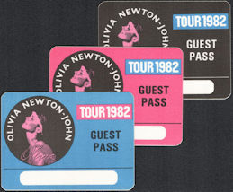 ##MUSICBP0576  - Group of 3 Different Colored Olivia Newton John Guest Cloth Guest OTTO Backstage Passes from the 1982 Physical Tour