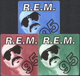 ##MUSICBP0716  - Group of 3 Different R.E.M. OTTO Cloth Backstage Passes from the 1995 Monster Concert Tour