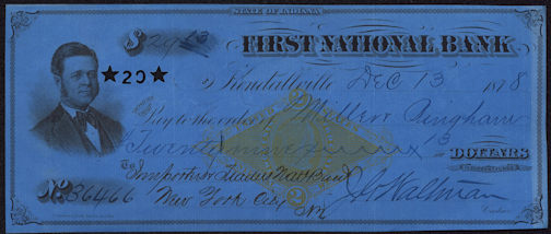 #ZZZ092 - 1870s Check from the First National Bank of Indiana