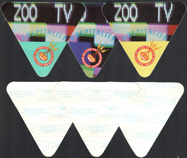 ##MUSICBP0326 - Group of 3 Different Colored OTTO Cloth U2 Hospitality Backstage Passes from the 1992/93 Zoo TV Tour