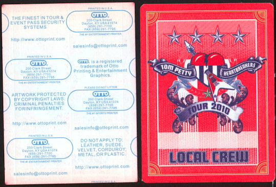 ##MUSICBP0248 - Fancy Tom Petty and the Heartbreakers Cloth OTTO Local Crew Backstage Pass from the 2010 Tour