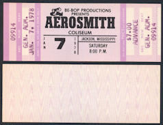 ##MUSICBPT0003 - 1978 Aerosmith Advance Ticket from Jackson, Mississippi - From the Bootleg Tour