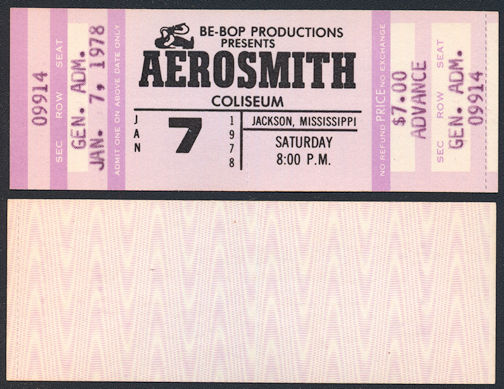 ##MUSICBP0073 - 1978 Aerosmith Advance Ticket from Jackson, Mississippi - From the Bootleg Tour