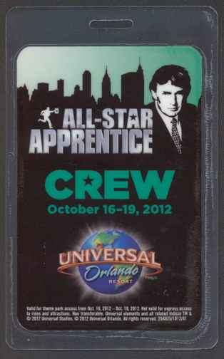 #PL322 - Super Rare Laminated Passes from the All-Star Apprentice Show Picturing Trump - As low as $7.50 Each