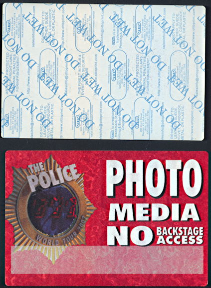 """##MUSICBP0332 - Oversize OTTO Cloth """"The Police"""" Photo Media Pass from the 2007 World Tour"""
