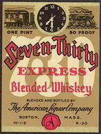 #ZLW106 - Seven-Thirty Express Blended Whiskey Label with Train