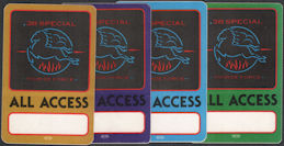 ##MUSICBP0088  - Group of 4 Different Colored 38 Special 1984 Tour De Force OTTO All Access Backstage Passes
