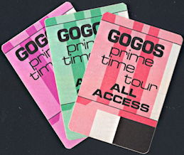 ##MUSICBP0331  - Group of Three Different 1984 GOGOs Prime Time Tour OTTO Backstage Passes