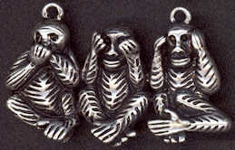 #BEADS0585 - Well Made Metal Pendant with Strange Version of 3 Wise Monkeys - As low as $1.50 Each