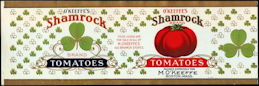 #ZLCA284 - Early Scarce O'Keeffe's Shamrock Brand Tomatoes Can Label