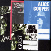 ##MUSICBP0017 - Group of 4 Different OTTO Cloth Alice Cooper Backstage Passes