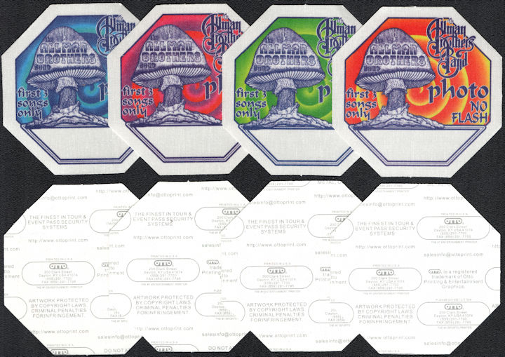 ##MUSICBP0096  - Group of 4 DIfferent Colored The Allman Brothers Band Backstage OTTO Photo Passes from the 1996 Second Reunion Tour
