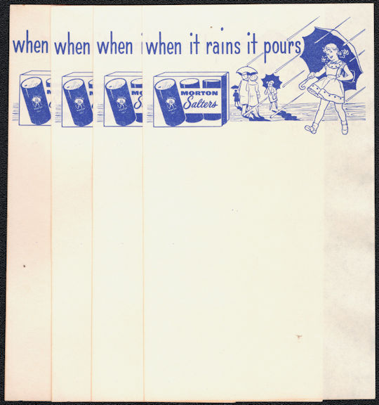#ZZZ191 - Group of 4 Notepad Sheets Advertising Morton Salt