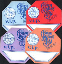 """##MUSICBP0333  - Group of 4 Different Colored The Allman Brothers Band OTTO Cloth VIP Backstage Pass from the 1994 """"Where it all Begins"""" Tour"""