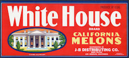 ZLSH604 - Group of 36 White House Melons Crate Labels - Pictures the White House
