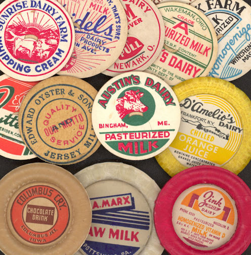 #DC127 - Group of 50 Different Milk Bottle Caps - Many Scarce Old Ones