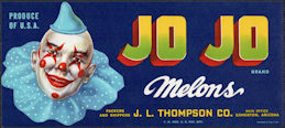 ZLSH601 - Group of 50 Jo Jo Melons Crate Labels - Unusual Labels with Clown