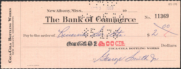 #CC175 - 1950s Coca Cola Check from the Plant in New Albany, Mississipi